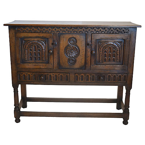 Carved Oak Cabinet, C. 1910