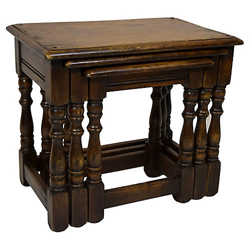 C. 1900 English Oak Nest of Tables, S/3