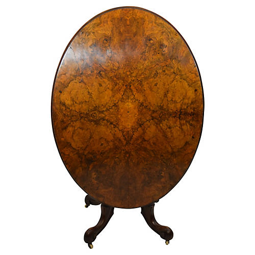 19th-C Burl-Elm & Mahogany Oval Table