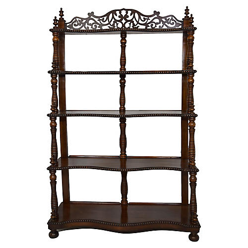 19th-C French Mahogany Etagere/Bookshelf