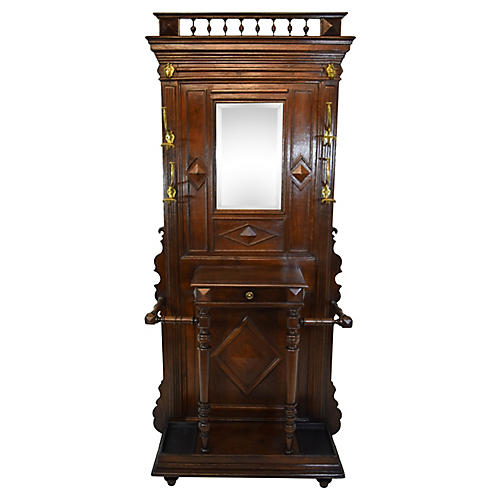19th-Century French Oak Hall Stand