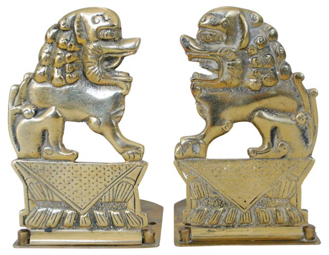 Brass Foo Dog Bookends