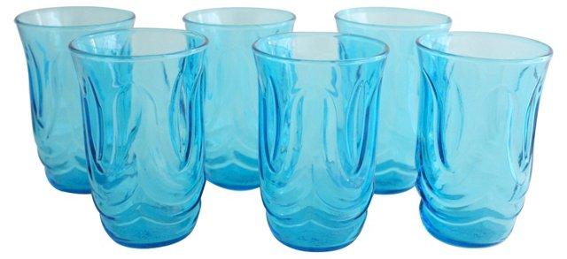 Aqua Blue Glasses, S/6