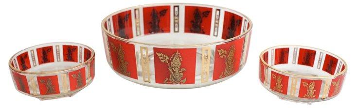 RS - Midcentury Thai-Motif Bowls, S/3