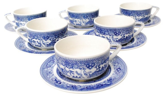 Willow Cups & Saucers, S/6