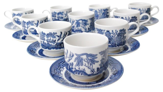 Willow Cups & Saucers, Set of 10