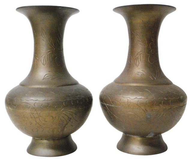 Hand-Etched Brass Vases, Pair