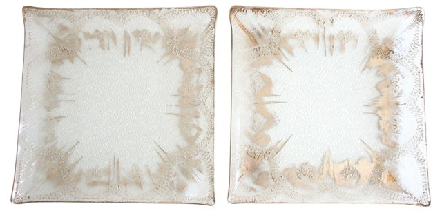 Dorothy Thorpe Glass Platters, Pair