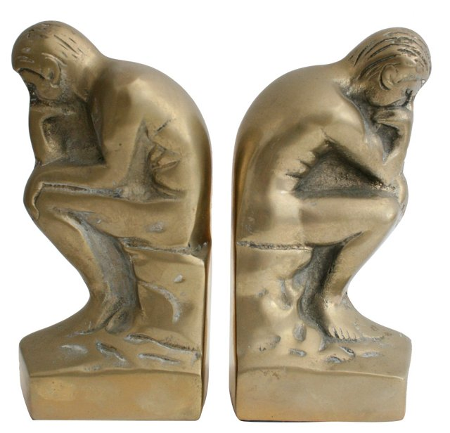 Solid Brass Thinker Bookends