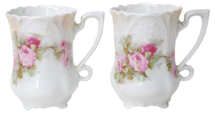 Floral Demitasse Cups, Pair