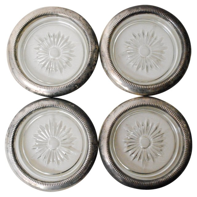 Silver & Glass Coasters, Set of 4