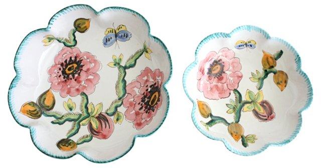 Hand-Painted Italian Bowls, Pair