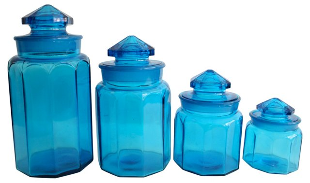 Cobalt Glass Canisters, S/4