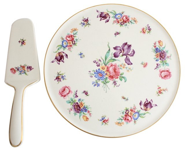 German Porcelain Cake Plate & Server