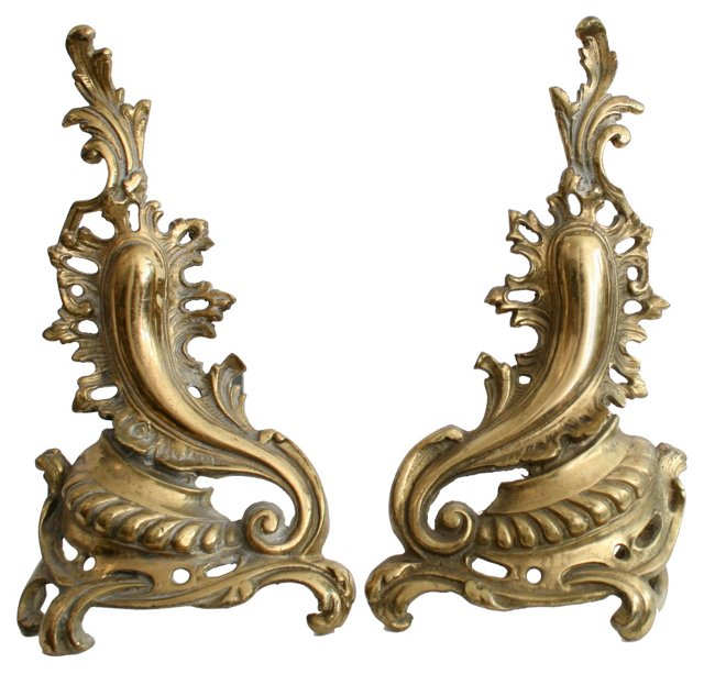 Solid Brass Paisley Andirons