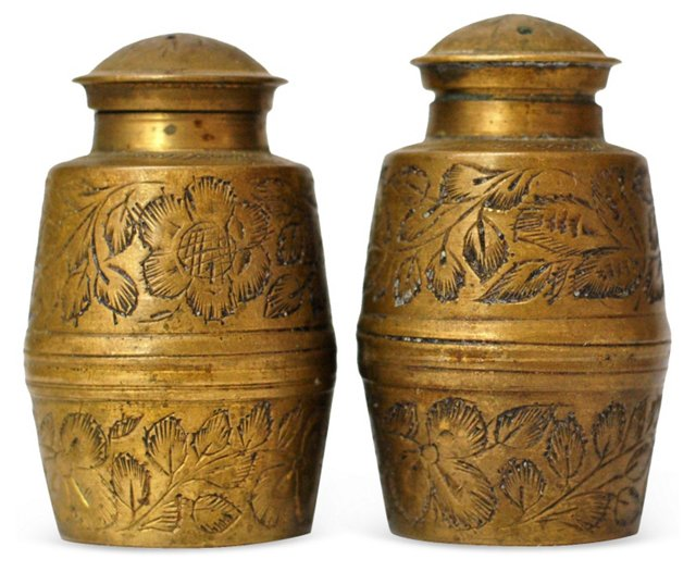 Hand-Etched Brass Salt & Pepper