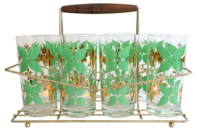 Midcentury Highballs & Caddy, 9 Pcs