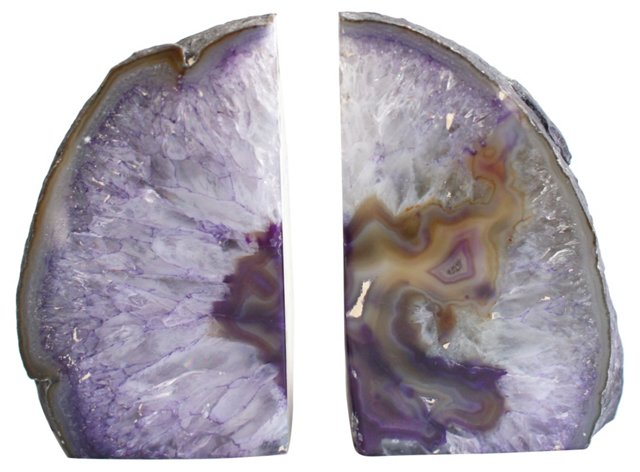 Purple Polished Stone Bookends