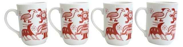 Midcentury Aztec Motif Mugs, S/4