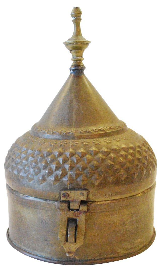 Lidded Brass   Vessel