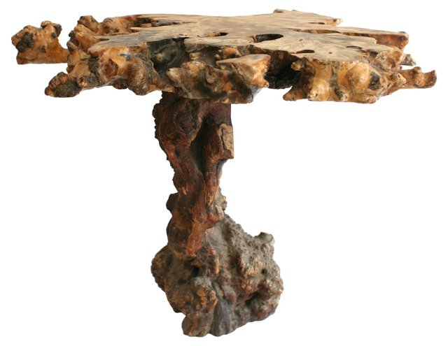 Midcentury Burl Wood Accent Table