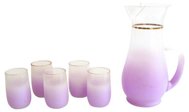 Lavender Ombre Pitcher & Glasses, S/6
