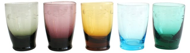 Etched Shot Glasses, S/5