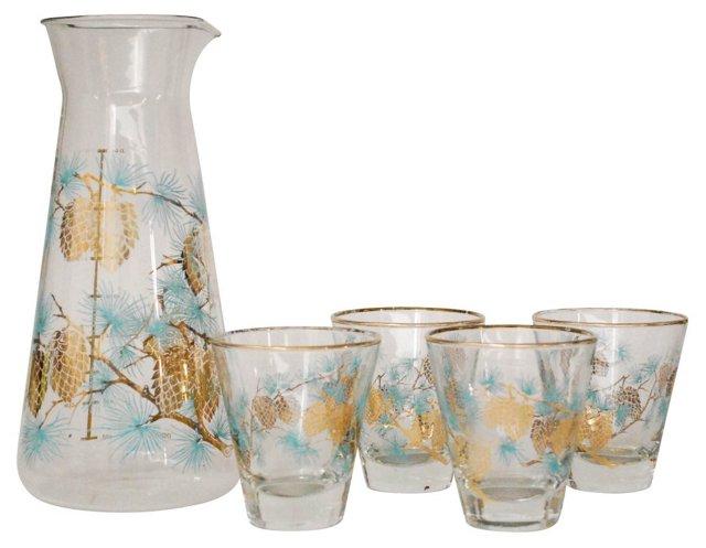 Pine Cone Juice Carafe & Glasses, 5 Pcs