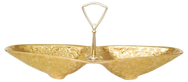 Gold Handled Serving Dish