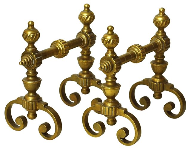 Brass Fireplace Log Rests, Pair