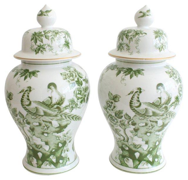 Japanese Porcelain Ginger Jars, Pair