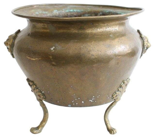 Antique Bronze & Copper Lion Head Pot