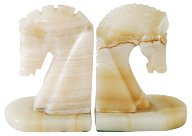 Onyx Horsehead Bookends
