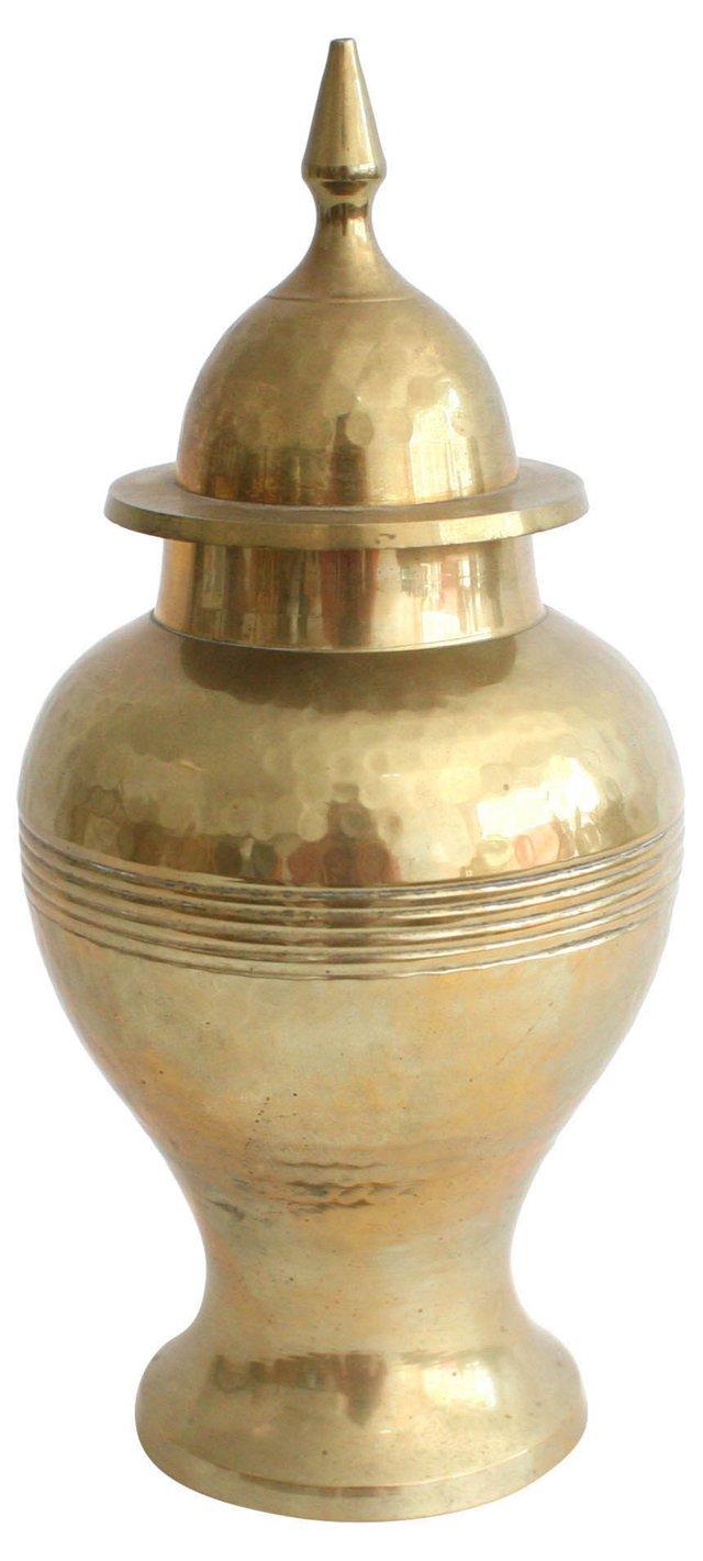 Hammered Brass  Ginger Jar