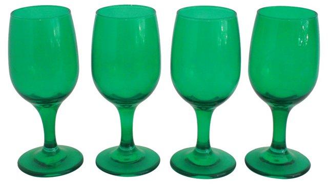 Emerald Green Stemware, S/4