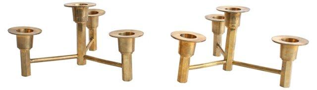Modern Brass Candelabra, Pair