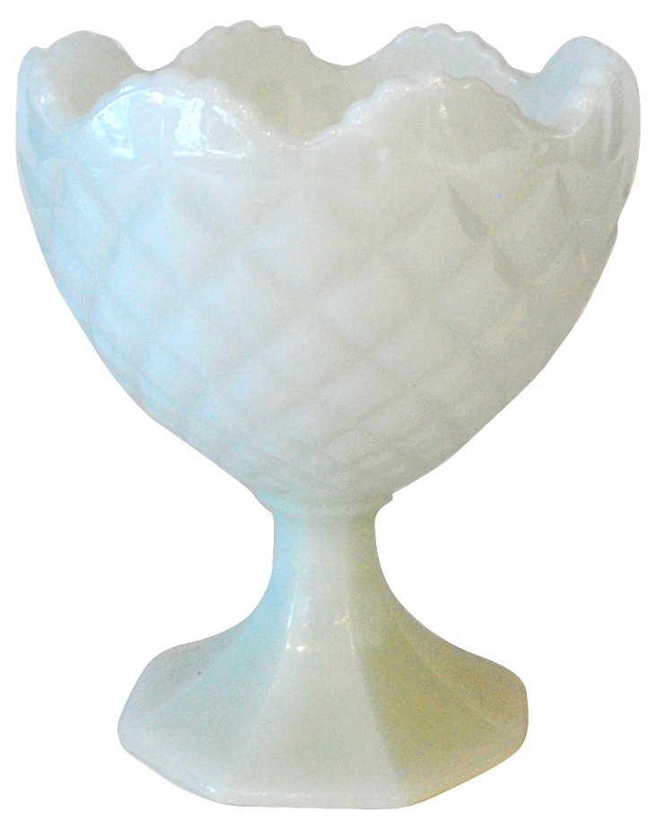 Scalloped-Edge Quilted Milk Glass Vase