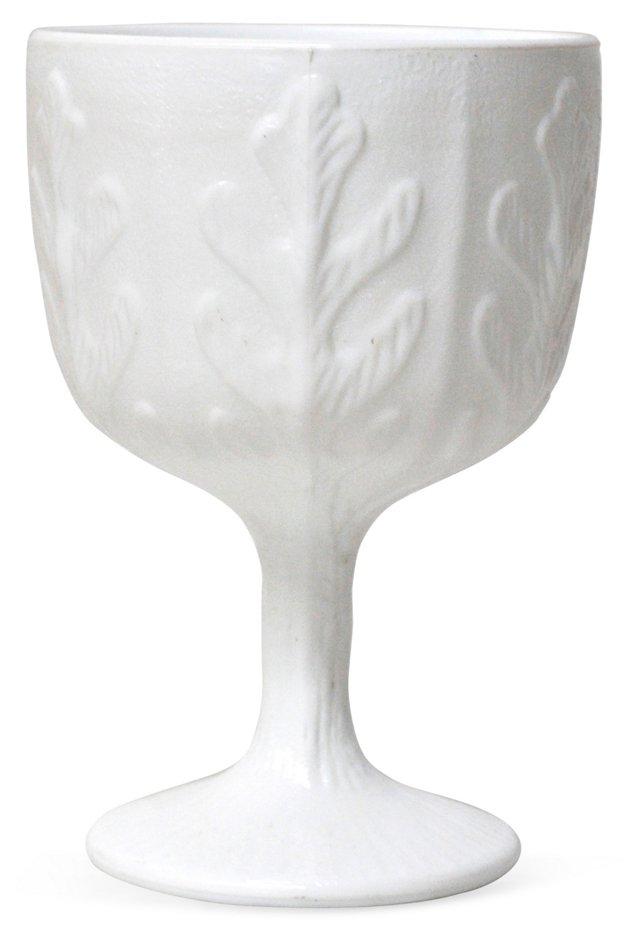 Leaf-Motif Milk Glass Vase