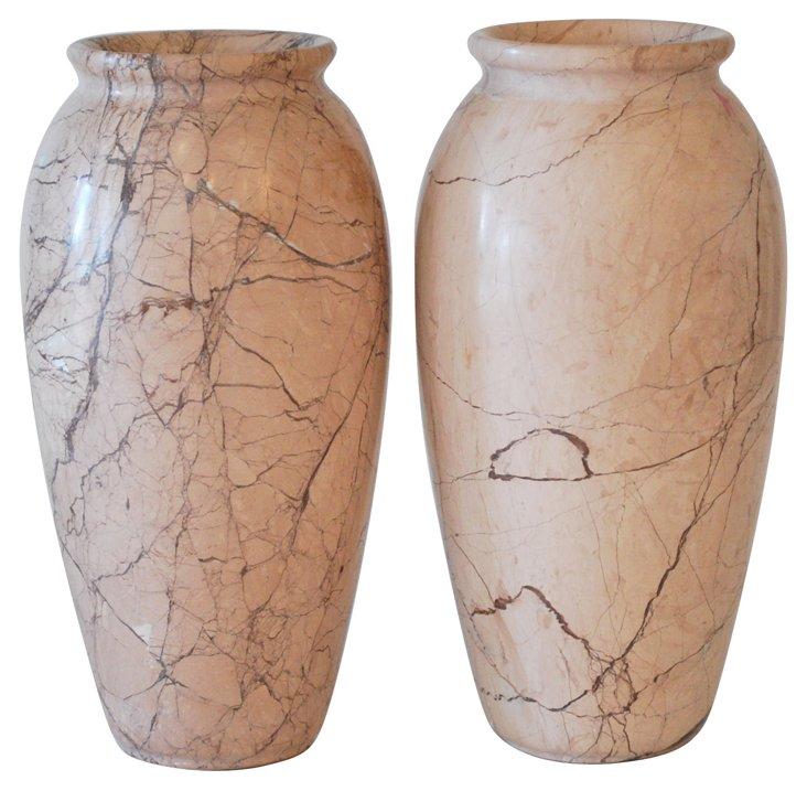 Marble Vases, Pair