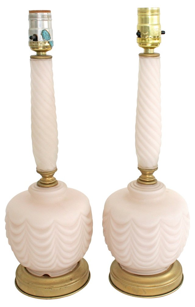 Frosted Glass Lamps, Pair