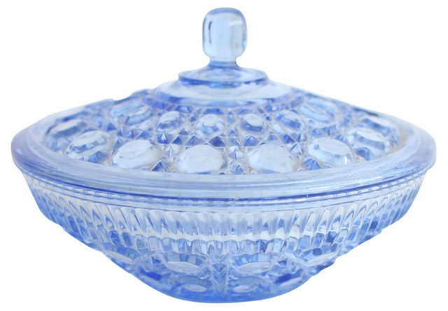 Periwinkle Cut-Glass Candy Dish