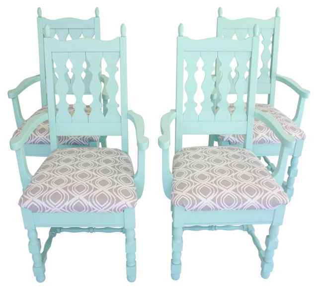 1960s Upholstered Dining Chairs, S/4
