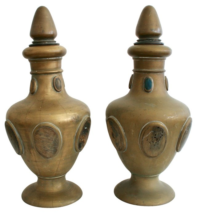 Brass & Bone Urns, Pair