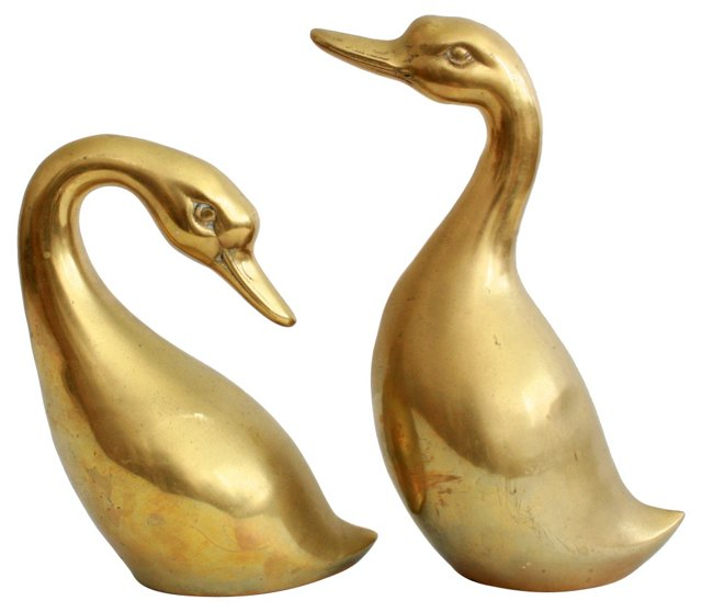 Stylized Brass Geese, Pair