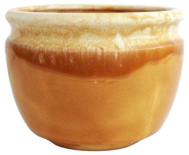 Large Yellow Drip Glaze Pot