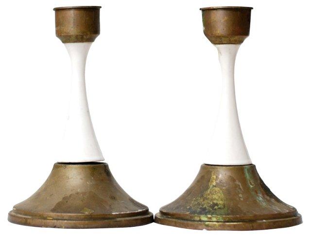 Enamel & Brass Candleholders, Pair