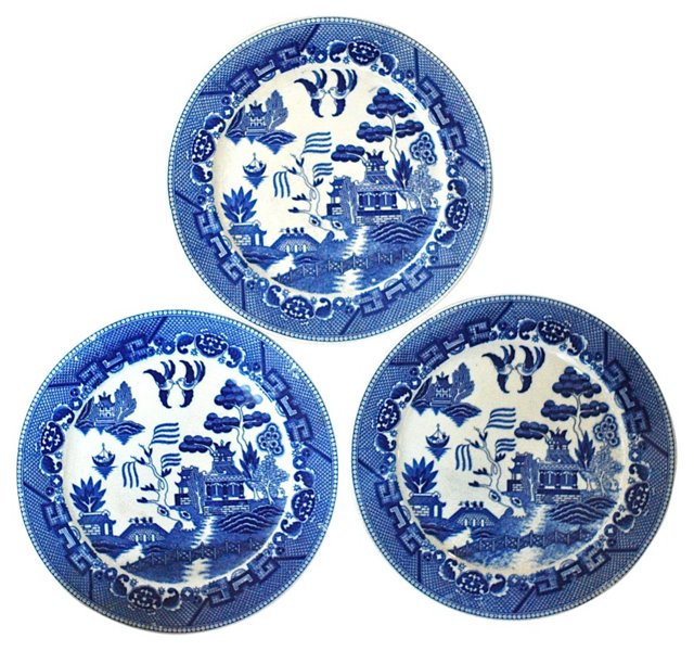 Blue Willow Plates, S/3