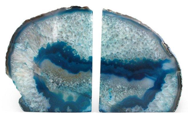 Deep Blue Geode Bookends