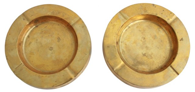 Midcentury Brass  Ashtrays, Pair