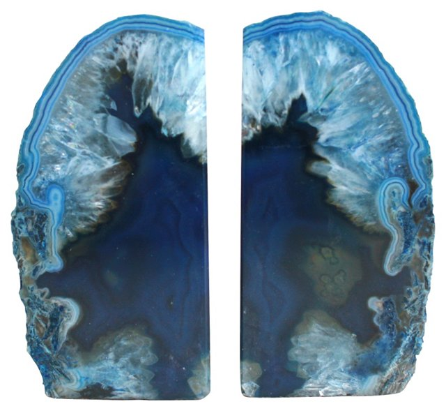 Midnight Blue Agate Bookends